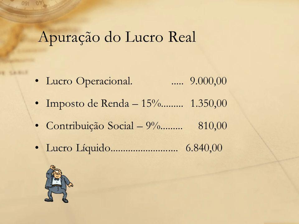 Apuração do Lucro Real Lucro Operacional. ..... 9.000,00