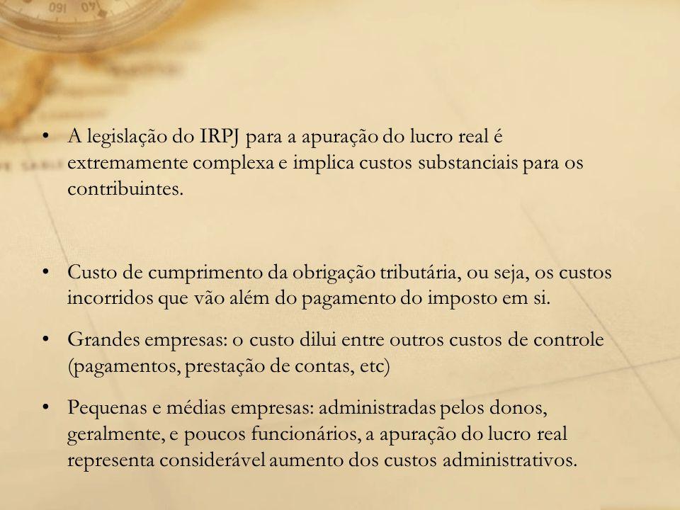 A legislação do IRPJ para a apuração do lucro real é extremamente complexa e implica custos substanciais para os contribuintes.