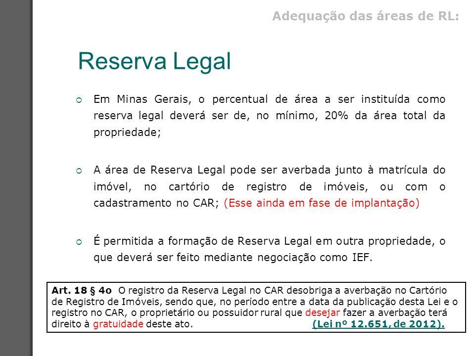 Reserva Legal Adequação das áreas de RL: