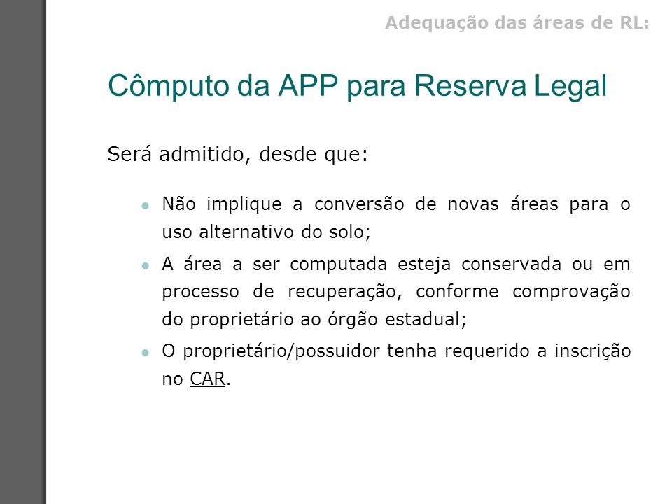 Cômputo da APP para Reserva Legal