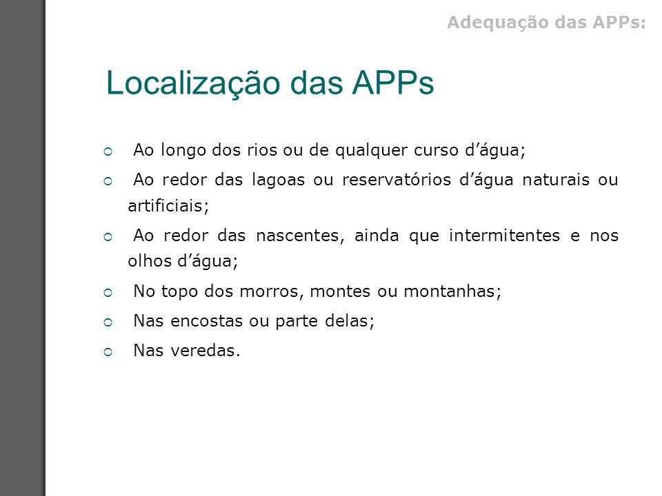 Localização das APPs Adequação das APPs: