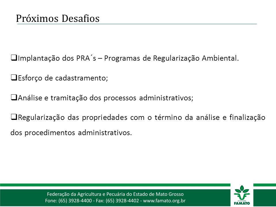 Próximos Desafios Implantação dos PRA´s – Programas de Regularização Ambiental. Esforço de cadastramento;