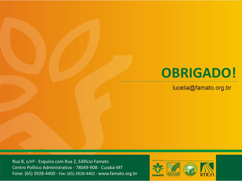 OBRIGADO! lucelia@famato.org.br