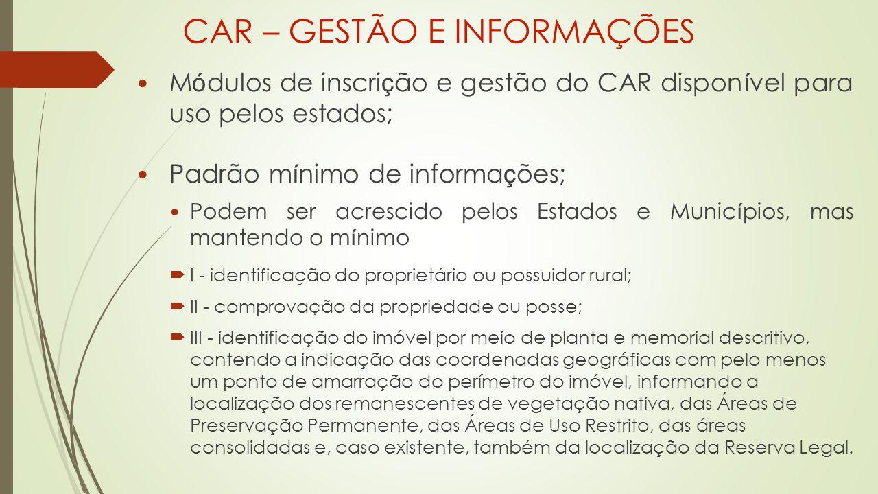 CAR – GESTÃO E INFORMAÇÕES