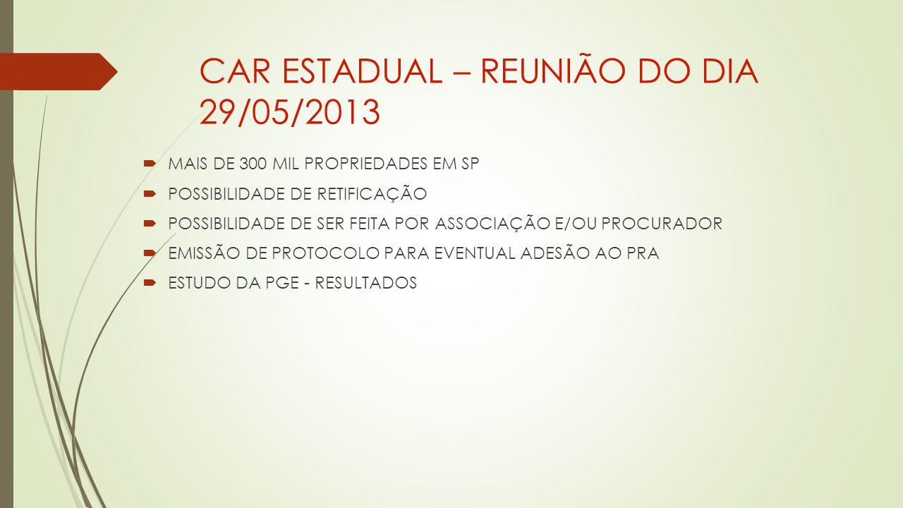 CAR ESTADUAL – REUNIÃO DO DIA 29/05/2013