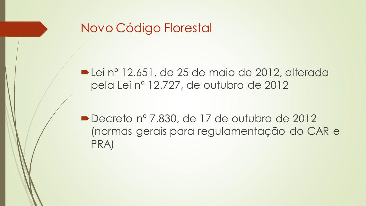 Novo Código Florestal Lei nº 12.651, de 25 de maio de 2012, alterada pela Lei nº 12.727, de outubro de 2012.
