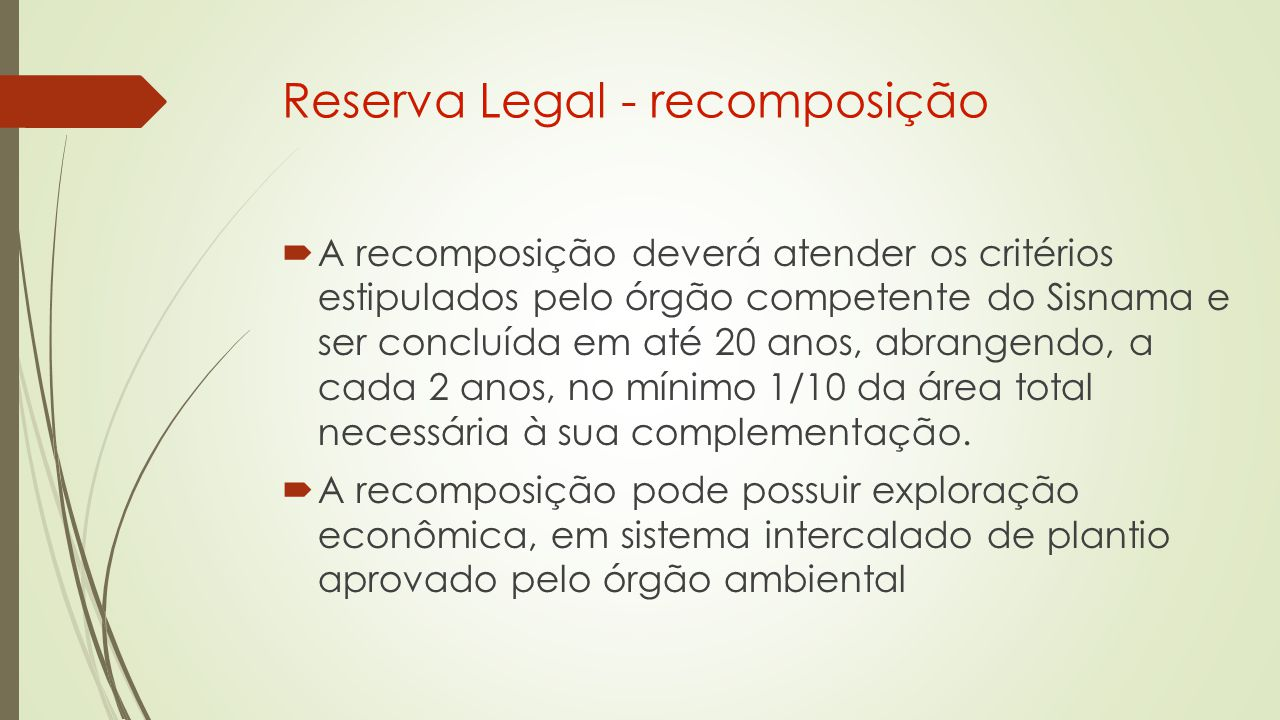 Reserva Legal - recomposição