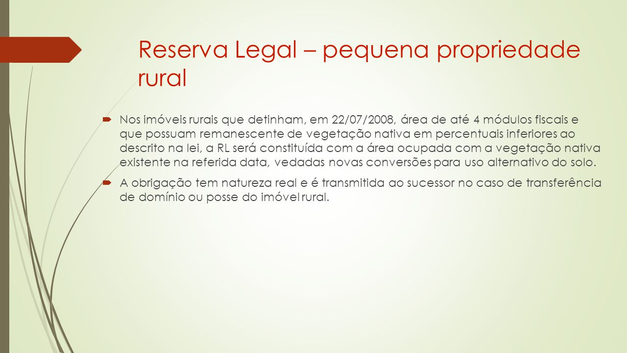 Reserva Legal – pequena propriedade rural