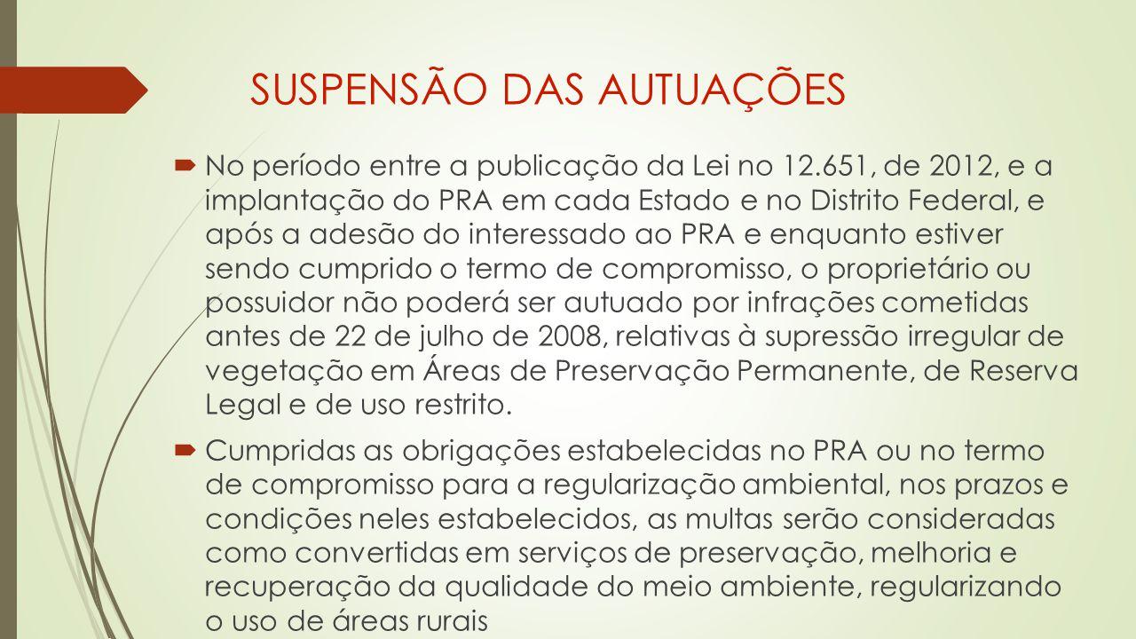 SUSPENSÃO DAS AUTUAÇÕES