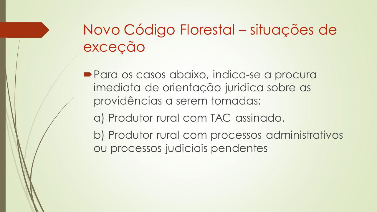 Novo Código Florestal – situações de exceção