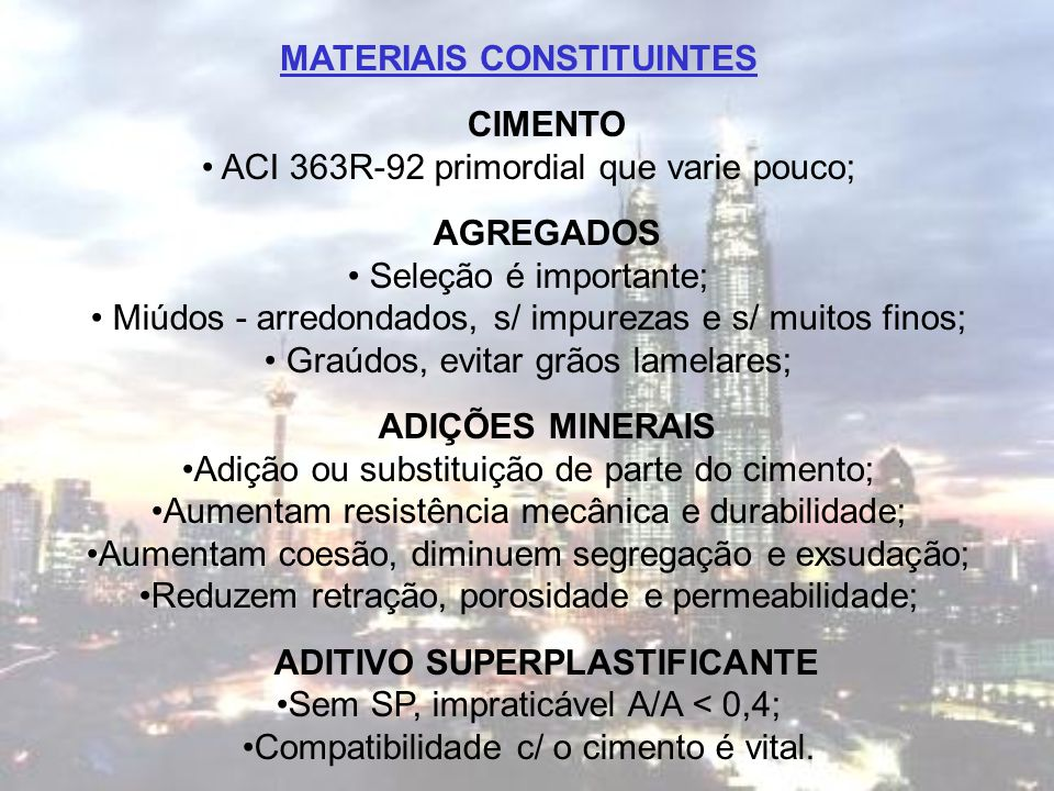 MATERIAIS CONSTITUINTES