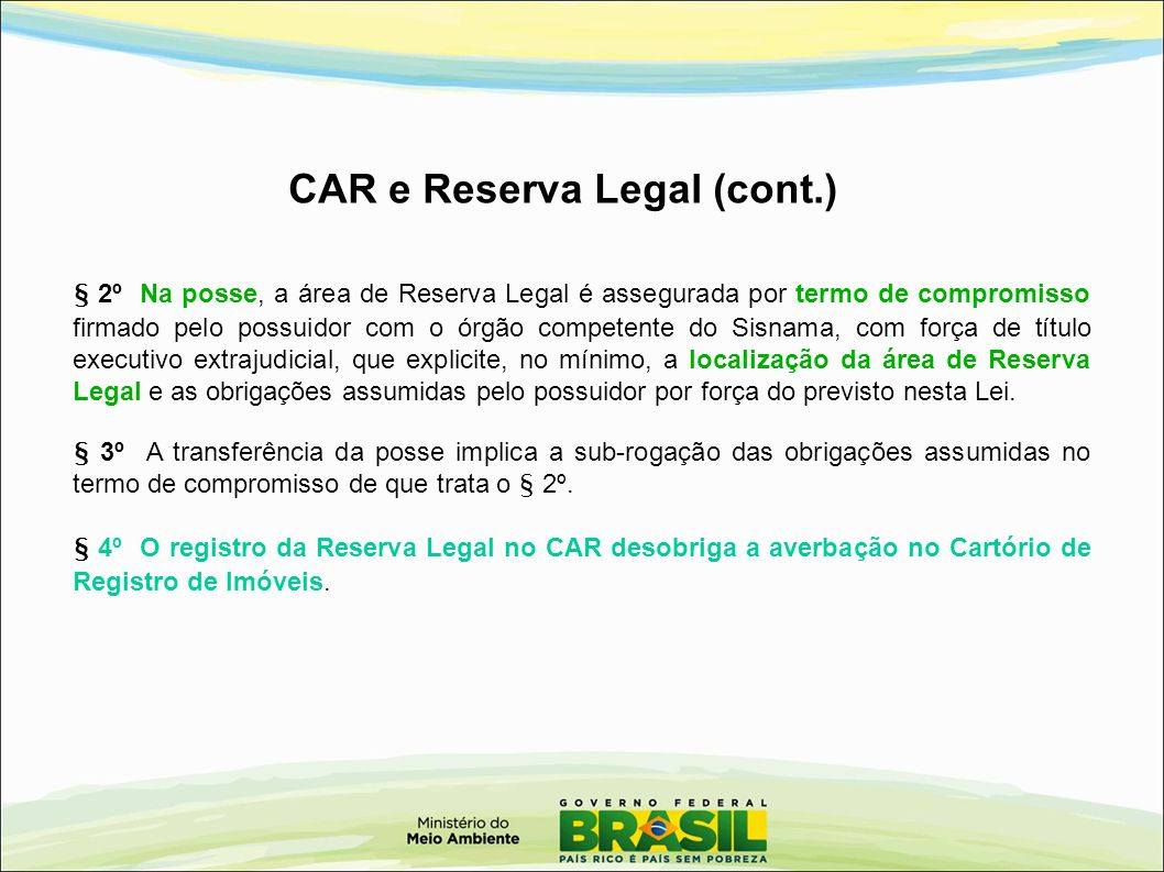 CAR e Reserva Legal (cont.)