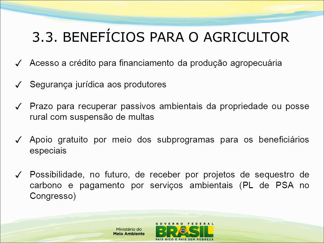 3.3. BENEFÍCIOS PARA O AGRICULTOR