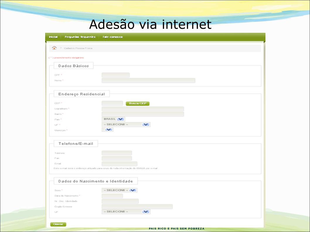 Adesão via internet 32