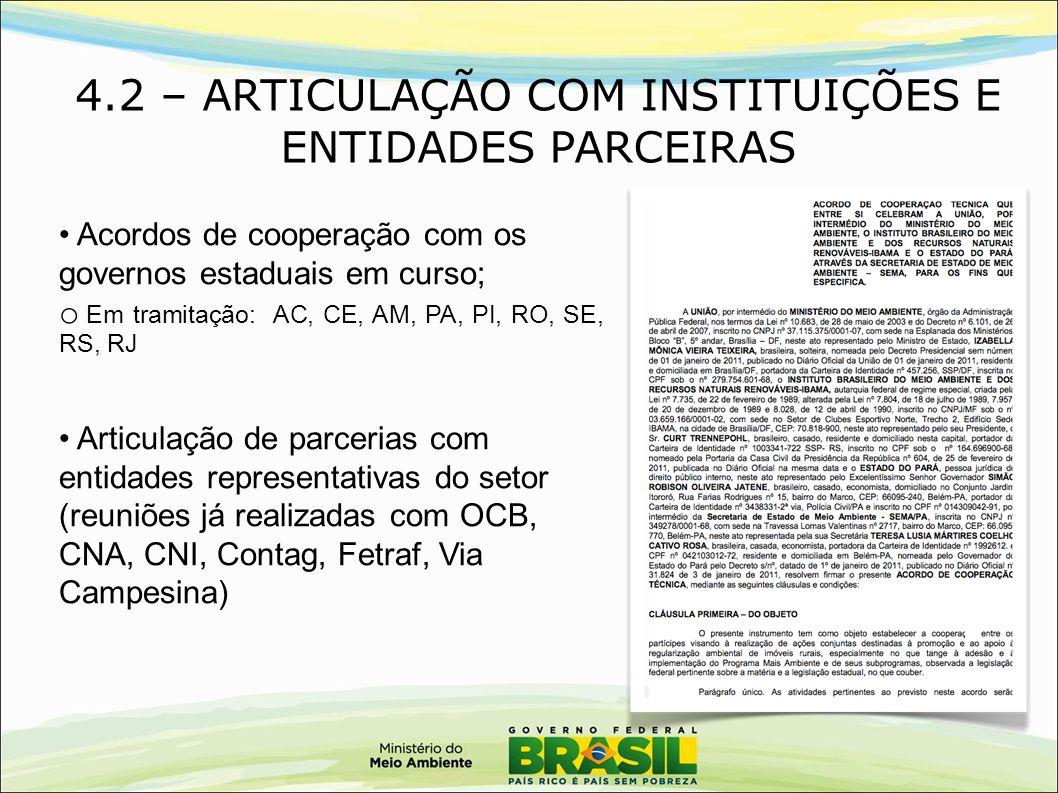 4.2 – ARTICULAÇÃO COM INSTITUIÇÕES E ENTIDADES PARCEIRAS