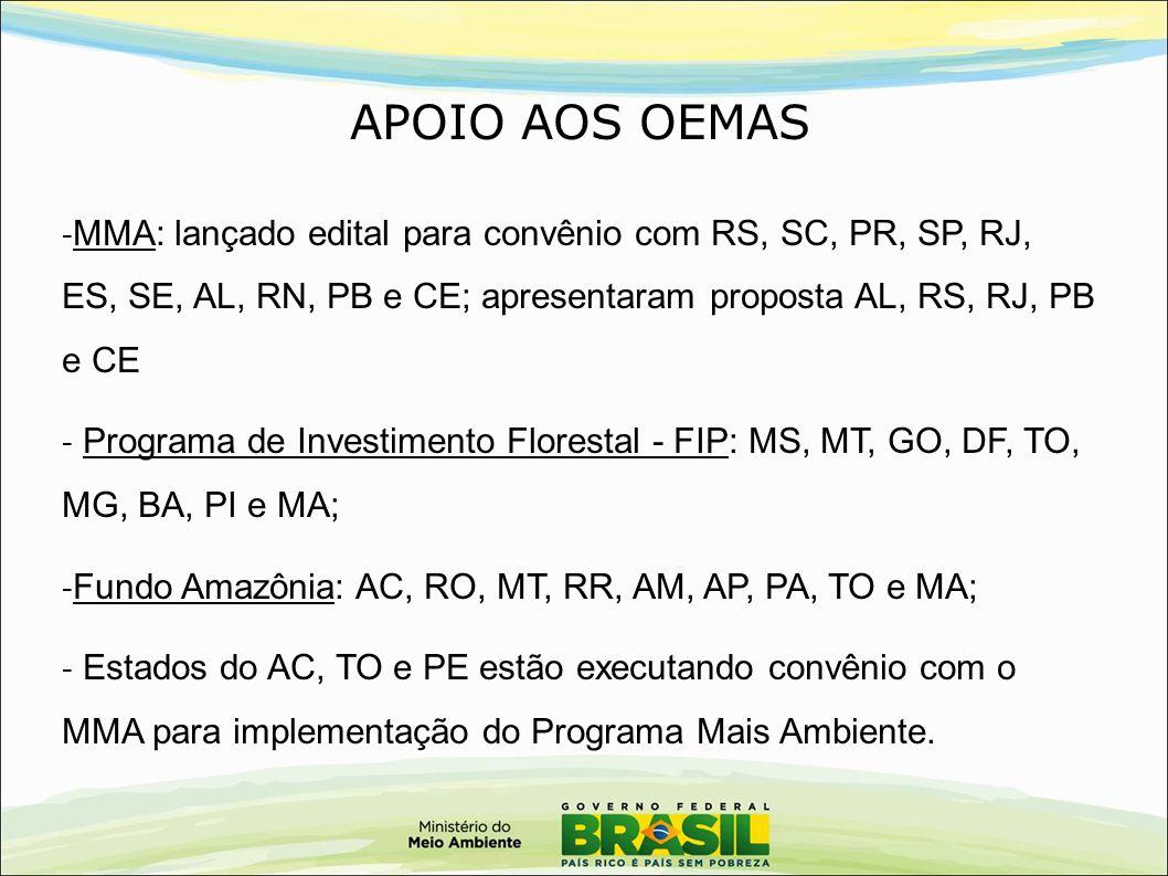 APOIO AOS OEMAS MMA: lançado edital para convênio com RS, SC, PR, SP, RJ, ES, SE, AL, RN, PB e CE; apresentaram proposta AL, RS, RJ, PB e CE.