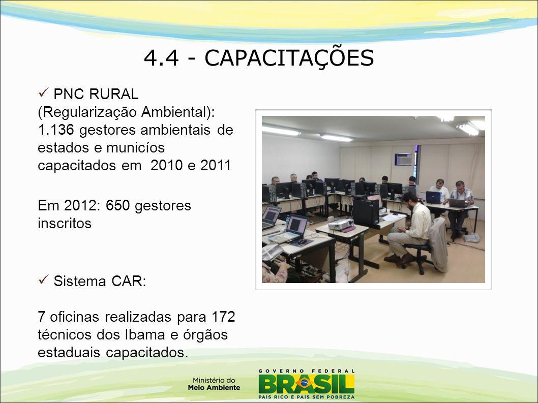 4.4 - CAPACITAÇÕES PNC RURAL (Regularização Ambiental): 1.136 gestores ambientais de estados e municíos capacitados em 2010 e 2011.