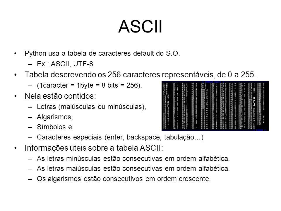 ASCII Python usa a tabela de caracteres default do S.O. Ex.: ASCII, UTF-8. Tabela descrevendo os 256 caracteres representáveis, de 0 a 255 .