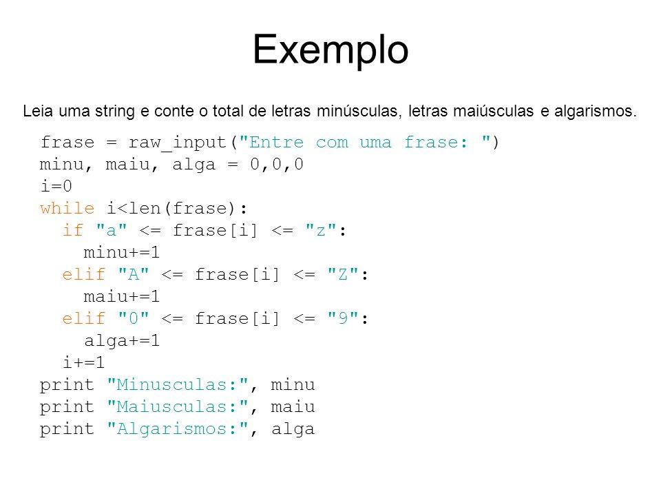 Exemplo frase = raw_input( Entre com uma frase: )