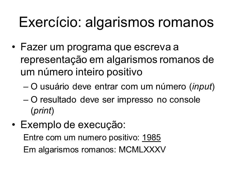 Exercício: algarismos romanos