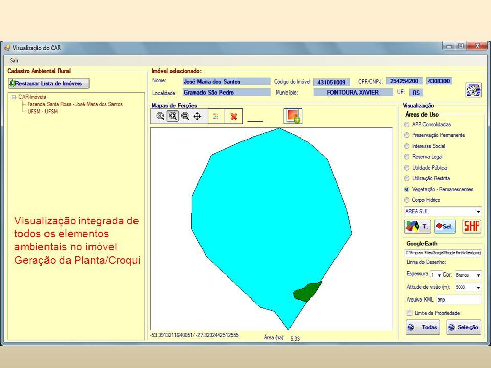 Visualização integrada de todos os elementos ambientais no imóvel