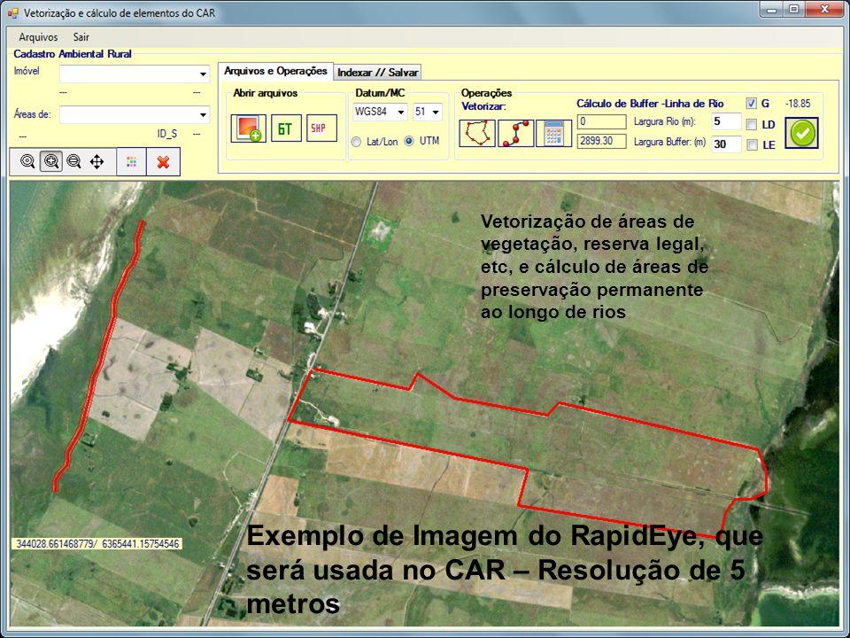 Vetorização de áreas de vegetação, reserva legal, etc, e cálculo de áreas de preservação permanente ao longo de rios