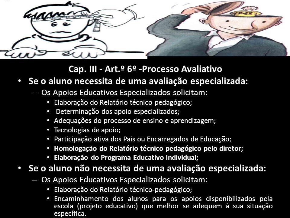 Cap. III - Art.º 6º -Processo Avaliativo