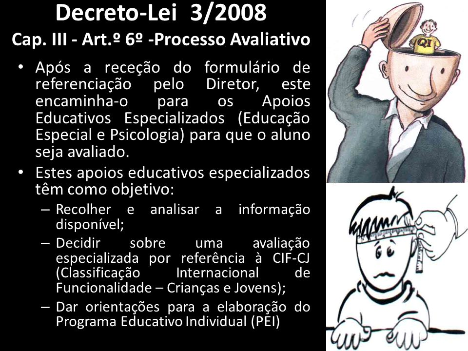 Decreto-Lei 3/2008 Cap. III - Art.º 6º -Processo Avaliativo