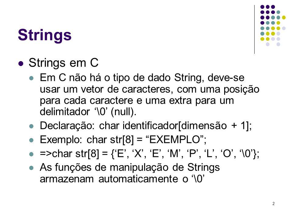 Strings Strings em C.
