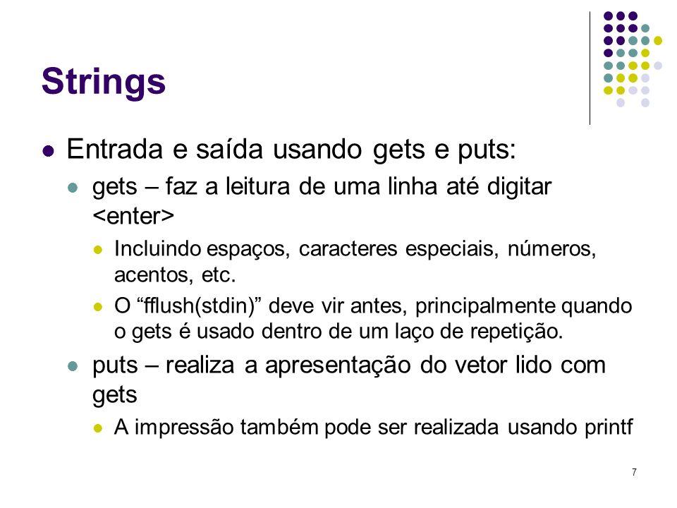 Strings Entrada e saída usando gets e puts: