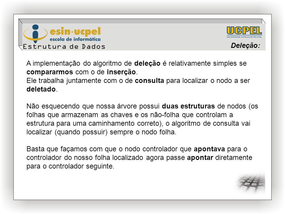 Deleção: A implementação do algoritmo de deleção é relativamente simples se compararmos com o de inserção.