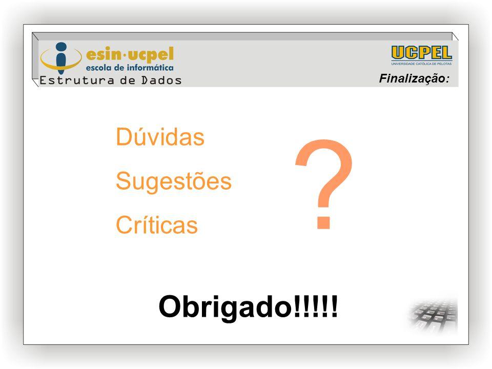 Finalização: Dúvidas Sugestões Críticas Obrigado!!!!!