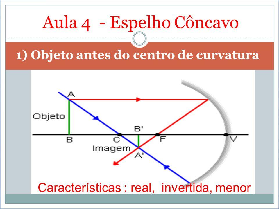 Aula 4 - Espelho Côncavo 1) Objeto antes do centro de curvatura