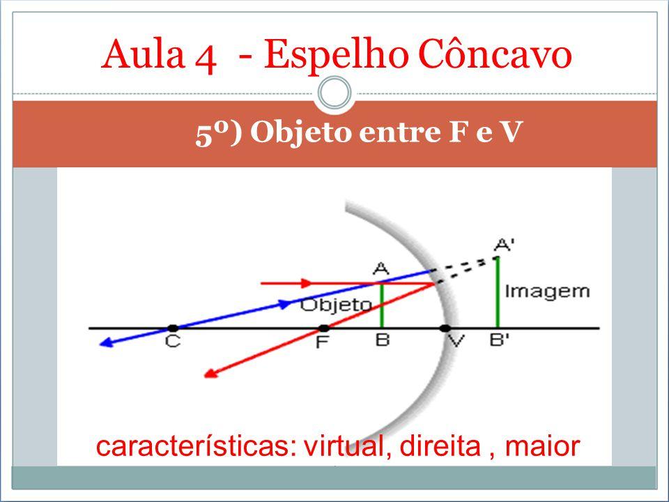 Aula 4 - Espelho Côncavo 5º) Objeto entre F e V