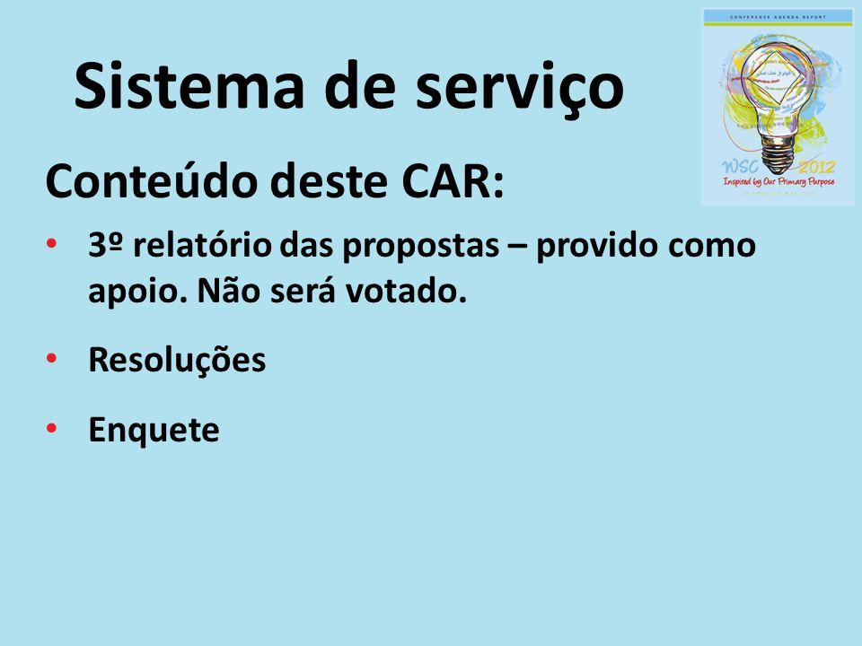 Sistema de serviço Conteúdo deste CAR:
