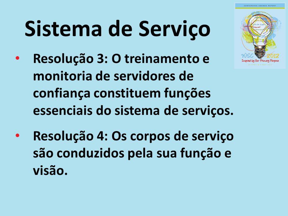 Sistema de Serviço Resolução 3: O treinamento e monitoria de servidores de confiança constituem funções essenciais do sistema de serviços.
