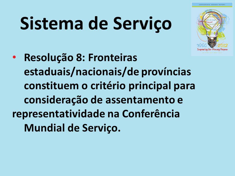 Sistema de Serviço Resolução 8: Fronteiras estaduais/nacionais/de províncias constituem o critério principal para consideração de assentamento e.