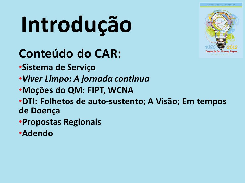 Introdução Conteúdo do CAR: Sistema de Serviço