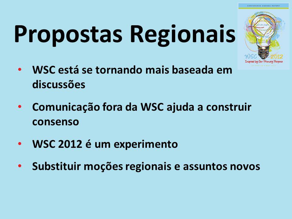 Propostas Regionais WSC está se tornando mais baseada em discussões