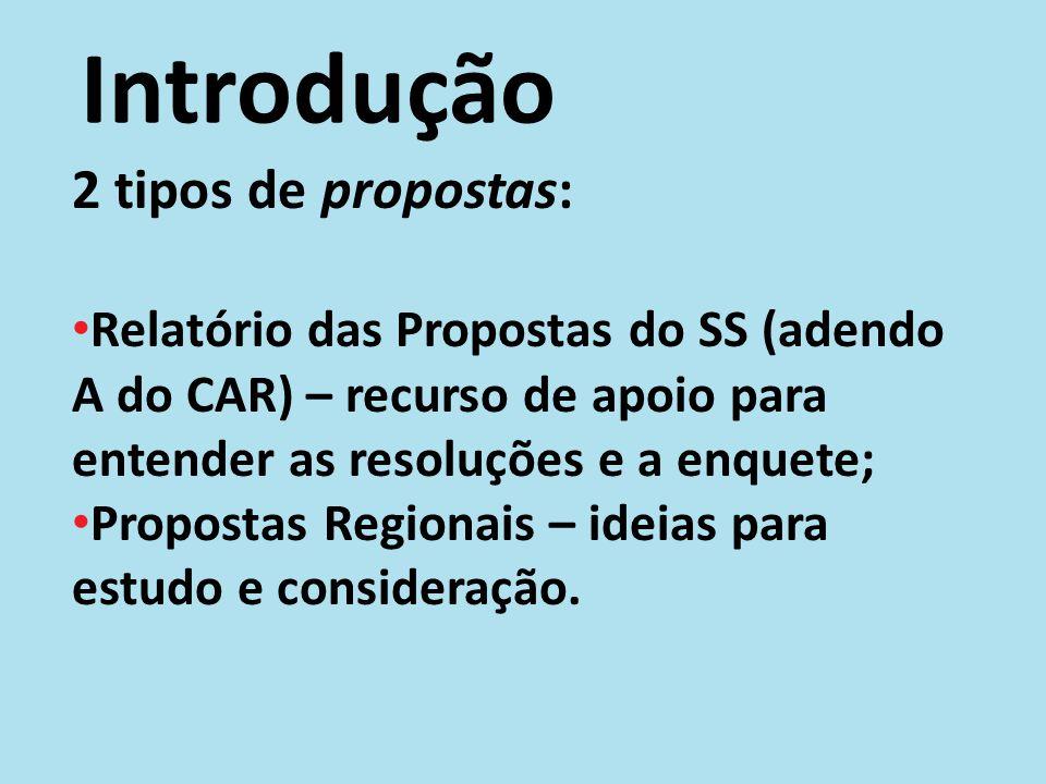 Introdução 2 tipos de propostas: