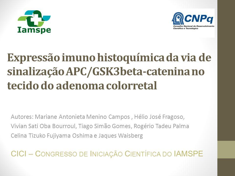 Expressão imuno histoquímica da via de sinalização APC/GSK3beta-catenina no tecido do adenoma colorretal