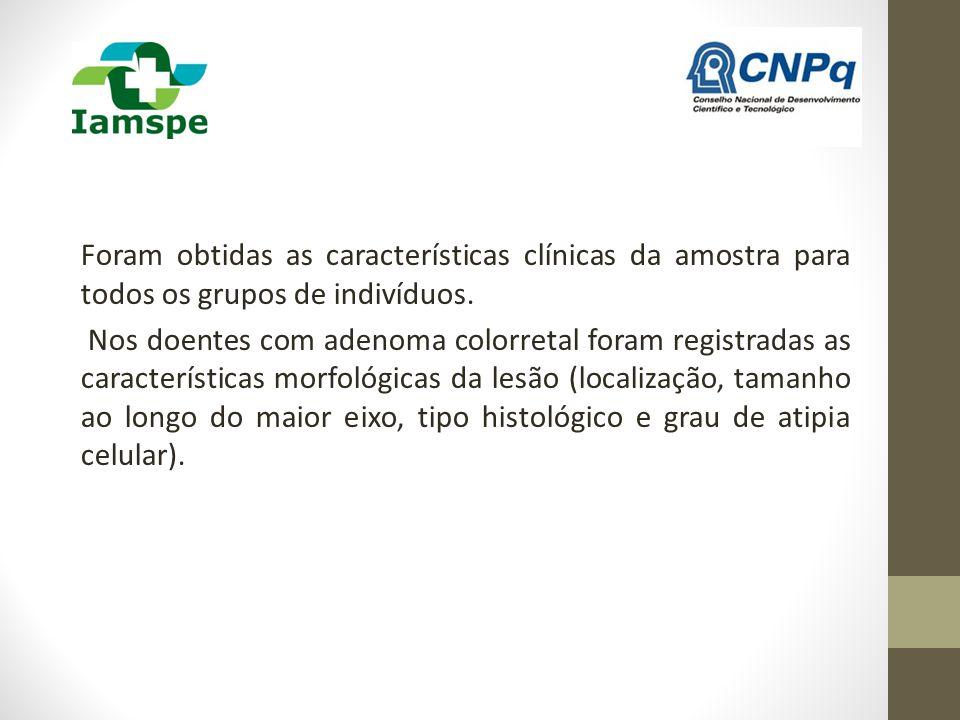 Foram obtidas as características clínicas da amostra para todos os grupos de indivíduos.