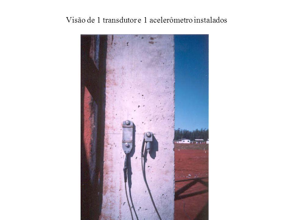 Visão de 1 transdutor e 1 acelerômetro instalados