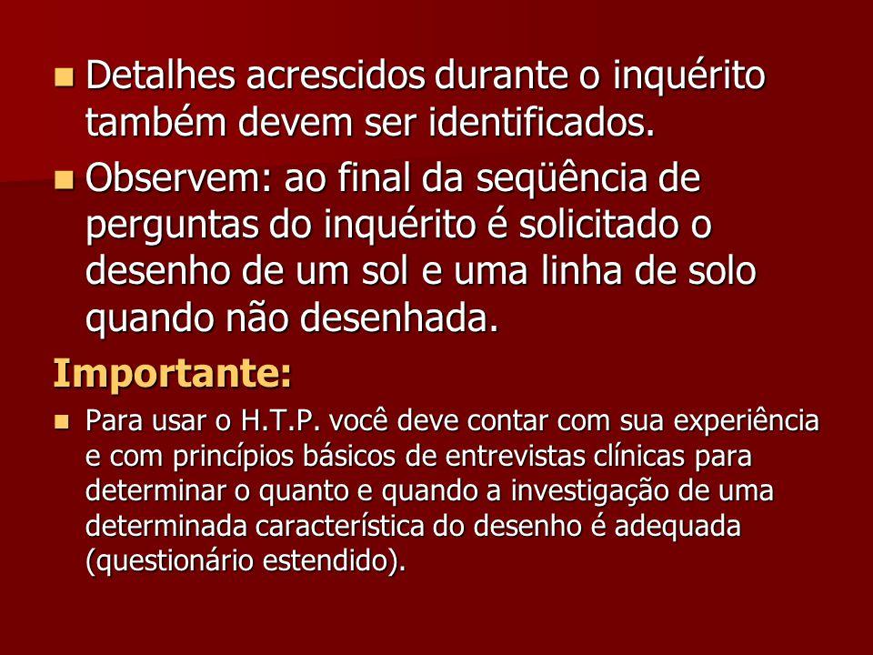 Detalhes acrescidos durante o inquérito também devem ser identificados.