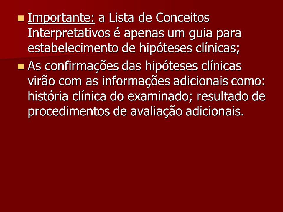 Importante: a Lista de Conceitos Interpretativos é apenas um guia para estabelecimento de hipóteses clínicas;