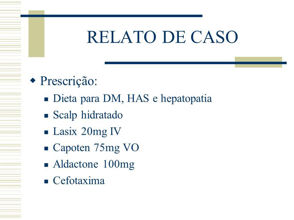 RELATO DE CASO Prescrição: Dieta para DM, HAS e hepatopatia