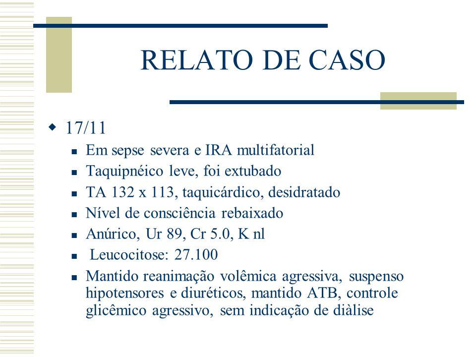 RELATO DE CASO 17/11 Em sepse severa e IRA multifatorial