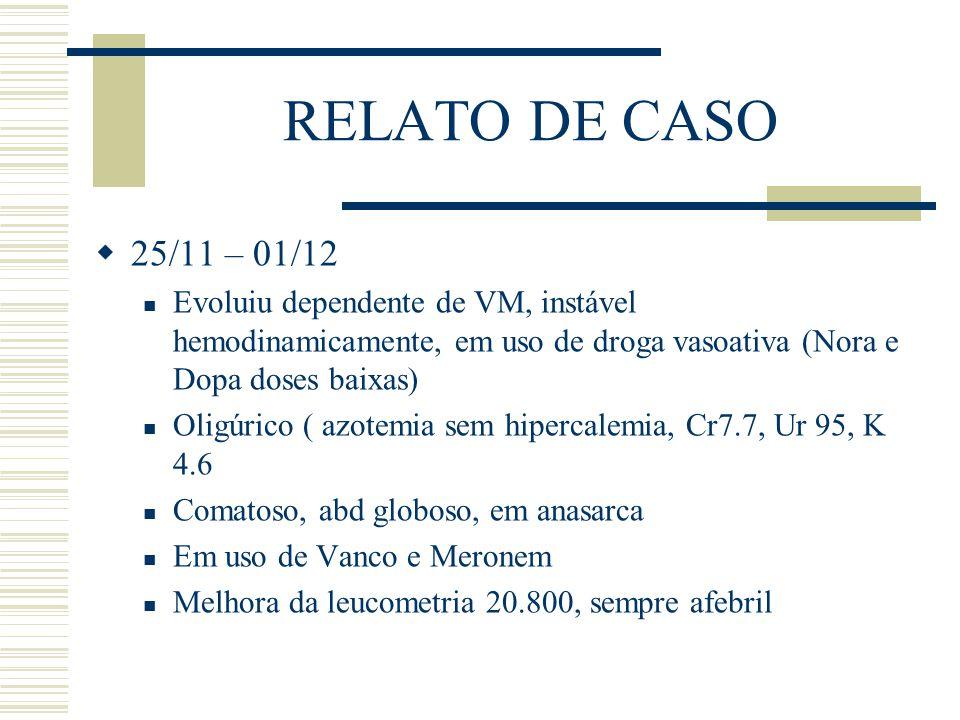 RELATO DE CASO 25/11 – 01/12. Evoluiu dependente de VM, instável hemodinamicamente, em uso de droga vasoativa (Nora e Dopa doses baixas)