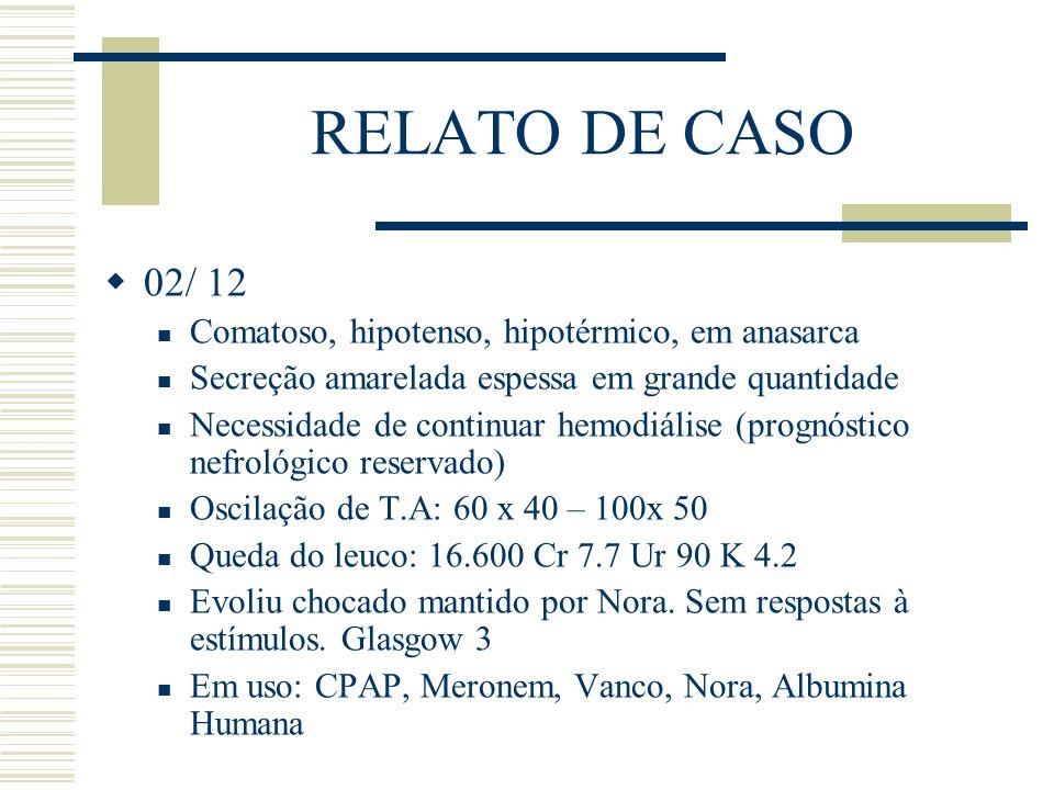 RELATO DE CASO 02/ 12 Comatoso, hipotenso, hipotérmico, em anasarca