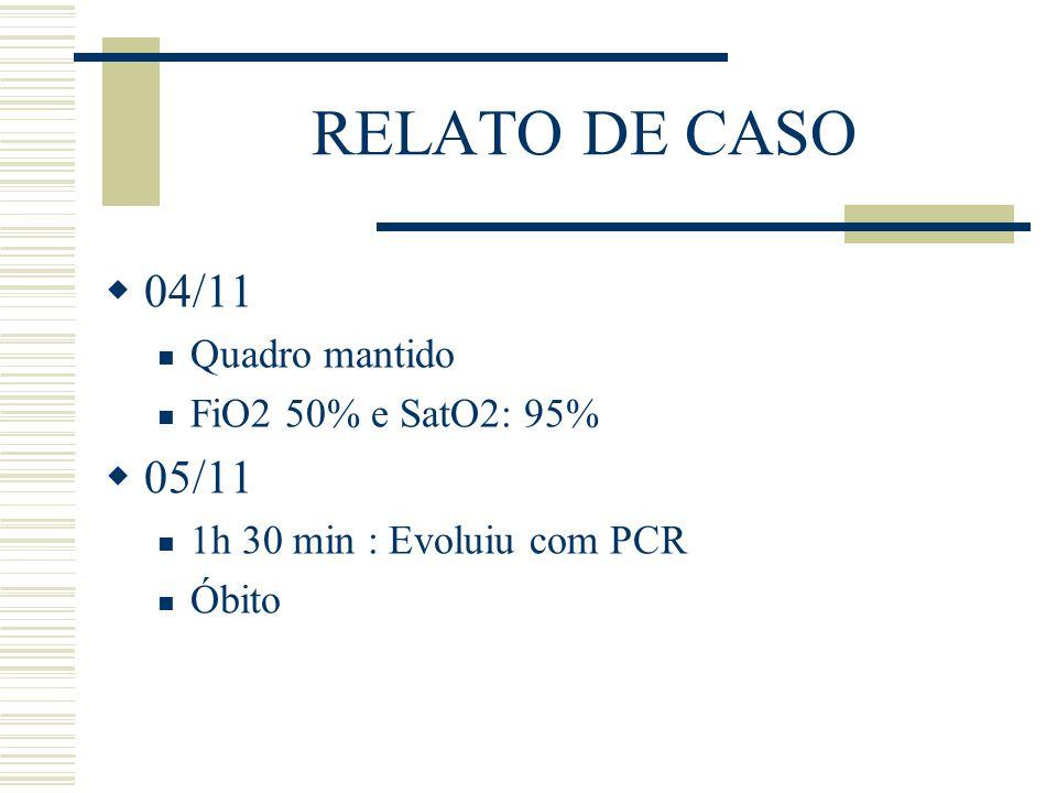 RELATO DE CASO 04/11 05/11 Quadro mantido FiO2 50% e SatO2: 95%